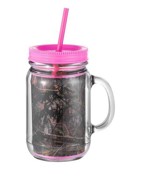 Pink Mossy Oak Mason Jar Cup