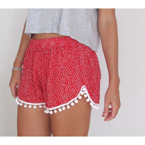 Christmas Pom Pom Shorts Red and White Polkadot Print White Pom Poms ($24) ❤ liked on Polyvore featuring shorts, grey, women's clothing, loose high waisted shorts, white shorts, elastic waist shorts, patterned shorts and high-waisted shorts