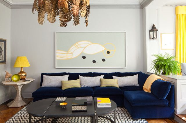 Colorful Schillig Sofa For Comfortable Sitting Space: Fascinating Mid Century Living Room With Dark Blue Sectional Schillig Sofa And Concrete Coffee Table On Patterned Carpet Under The Leaf Pendants