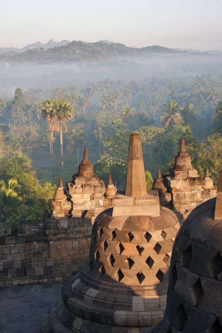 Brume du matin | Borobudur temple, Magelang, Java, Indonésie.