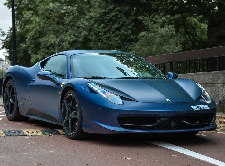 matte blue ferrari 458 italia negotiating a speed bump carflash bugatti baby pinterest wow wow wow speed bump and ferrari - Ferrari 458 Italia Blue