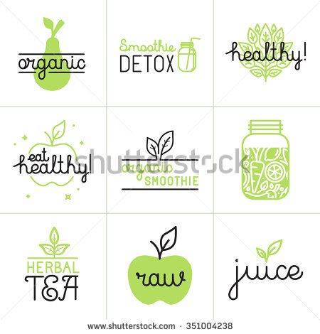 Vector set of logo design elements and badges in trendy flat and linear style - healthy eating, detox smoothie, herbal tea and organic juice - stock vector