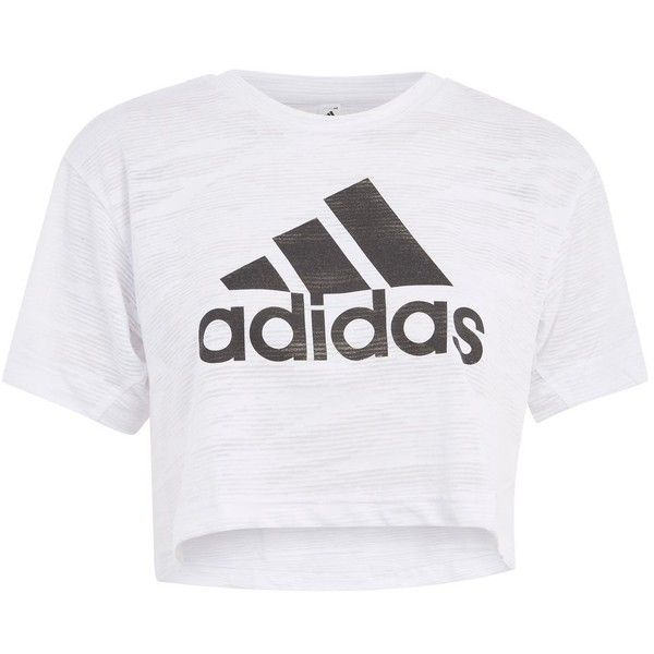 Aero Knitted Crop T-Shirt by Adidas Originals ($52) ❤ liked on Polyvore featuring tops, t-shirts, white, cut-out crop tops, crop tee, topshop t shirts, crop tops and topshop tops