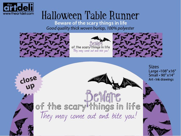 Gone Batty • Ink drawings decorate this unique halloween table runner. Printed on good quality thick woven burlap, 100% polyester.  Purchase at: http://www.theart deli   #halloween decor #halloween