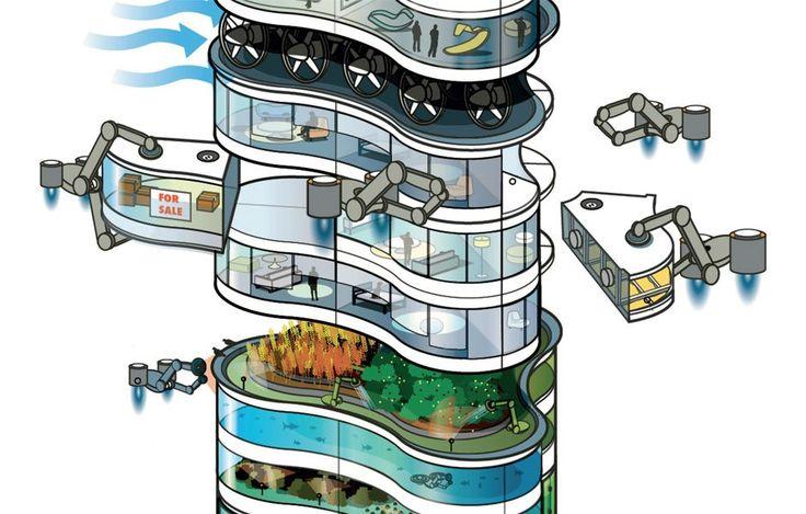 """IT'S ALIVE! - GELECEĞİN BİNASI Arup'un Öngörü, Araştırma ve Yenilik ekibi tarafından geliştirilen bir tasarım kurgusu olan """"It's Alive"""" 2040 yılındaki yüksek binaları tasvir ediyor."""