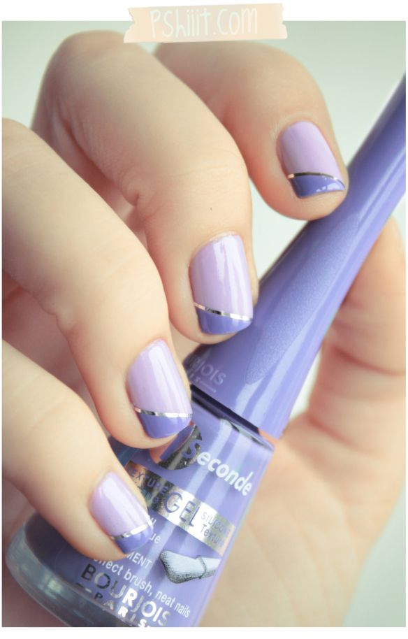 Two color colour nail art: lilac and violet purple with silver line striper. Diagonal French manicure design.