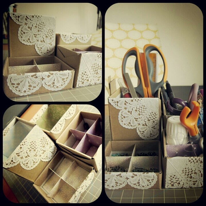 Stationary Organiser.  Perfect for OCD friends. You can use any old cardboard boxes, simply arrange them in a suitable fashion and attach with a glue gun or superglue. Decorate with magazine cuttings, paper doilies or pressed flowers.  Complete by adding a few cute stationary pieces.