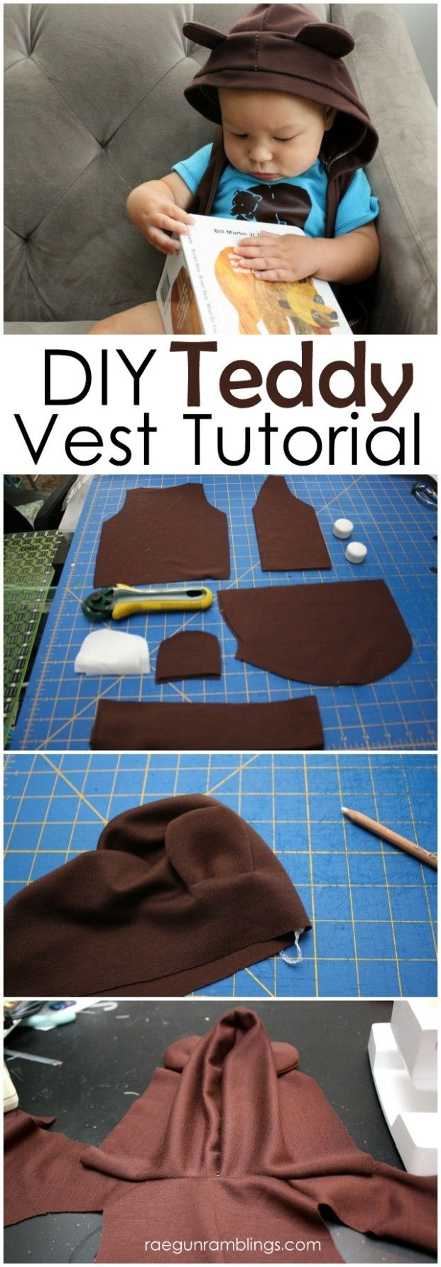 DIY Teddy Vest Tutorial and how to make one in an size - Rae GUn Ramblings