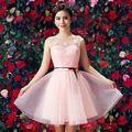Robe de soirée cocktail celebridade vestido curto sexy lace rosa claro vestidos de comprimento do joelho do querido 2016 new arrival H3602