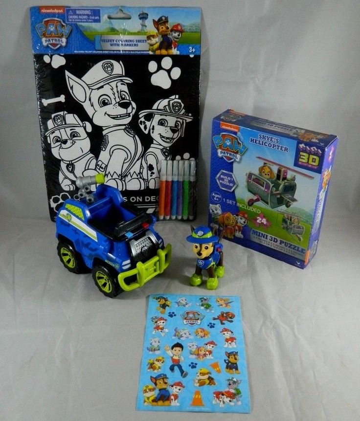 Lot of Paw Patrol Toys & Crafts Chase Figure Police Car 3D Puzzle Velvet Markers #NickJr