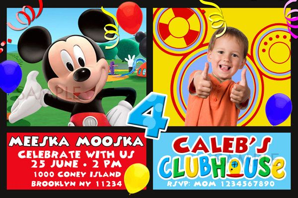 MICKEY MOUSE CLUBHOUSE Party Invites Mickey Clubhouse by PhotoGoof, $10.99