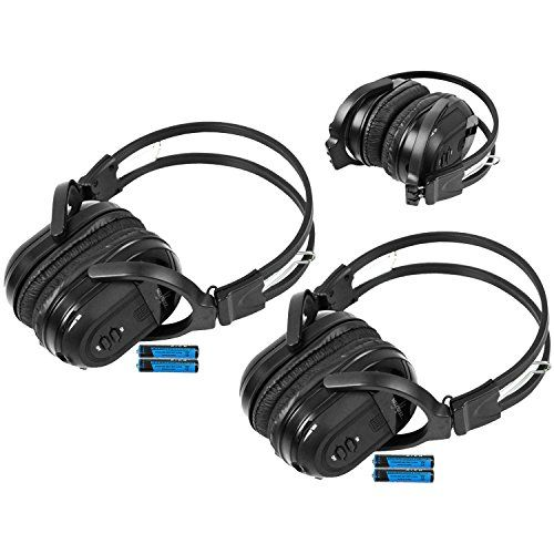 2 Pack of Two Channel Folding Universal Rear Entertainment System Infrared Headphones Wireless IR DVD Player Head Phones for in Car TV Video Audio Listening:   You will receive 2 wireless headphones. Enjoy music, movies and more! With these wireless infrared folding headphones. Automotive Grade IR Headphones: Will work on any vehicle that uses infrared headphones. No programming required! Simply turn on the headphones and they will connect to your vehicles rear entertainment system. IR...