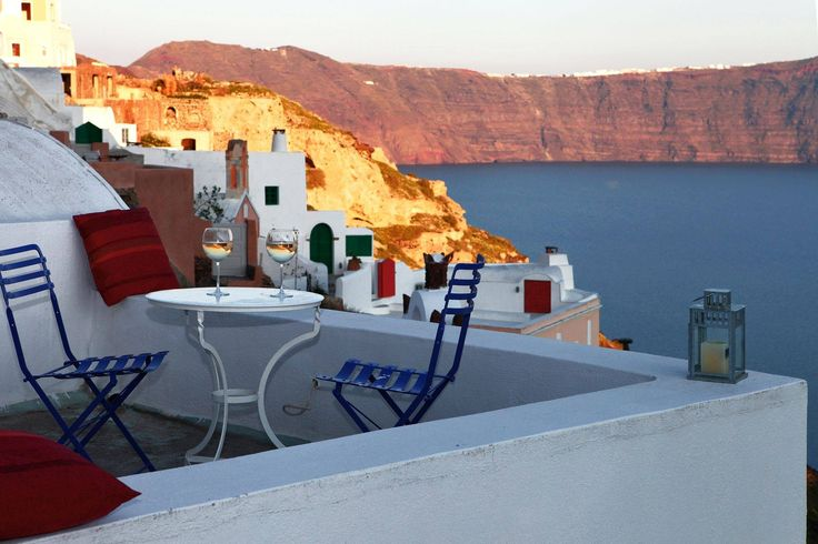 The stunning view to the Caldera and the sea from the terrace of M Cave House #Santorini
