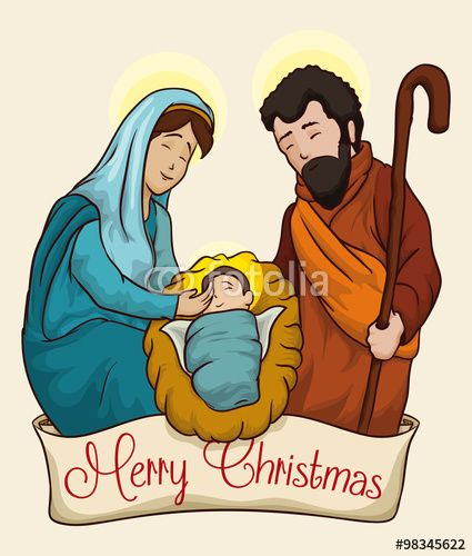 Colorful Christmas Nativity Scene of Baby Jesus, Vector Illustration