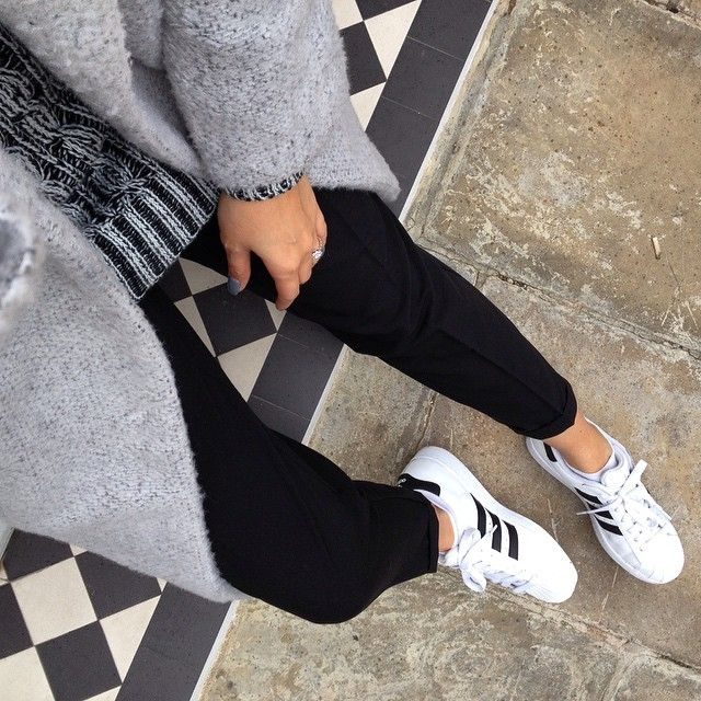 #fromwhereistand Adidas originals Superstar 2 II trainers, Black cropped  trousers, Grey cosy cocoon · Adidas ShoesAdidas OutfitAdidas ...