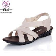 MUYANG MIE MIE 2017 летняя обувь женщины квартиры женщины обувь из натуральной кожи плоские туфли сандалии случайные удобные сандалии женщин сандалии(China (Mainland))
