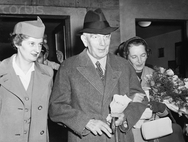 "Konstantin Von Neurath Walking With His Daughter - U1269242INP - Rights Managed - Stock Photo - Corbis. Konstantin Von Neurath, Adolph Hitler's ""protector"" of Bohemia and Moravia in World War II, now 81 years old, is shown with is daughter, Mrs. Winfred Von Mackensen, right, and a stewardess, walking to a plane for his flight to Frankfurt after his release from the Spandau prison in West Berlin last Saturday. November 09, 1954"