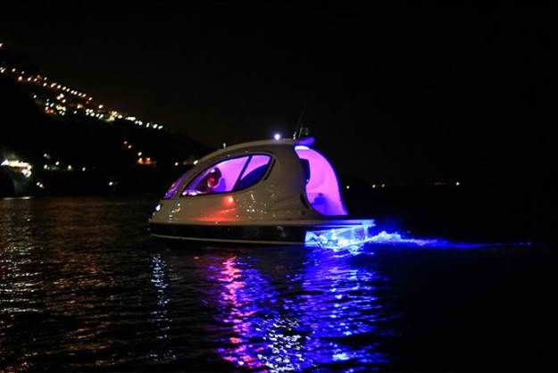 Tiny yacht has enough room to party, could be used to ferry people to and from an event.