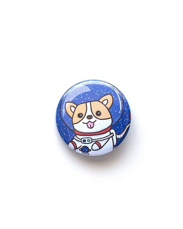 Space corgi Pin for all corgi lovers! Diameter - 1.5 inches Buttons are hand pressed onto my original designs with a clear mylar on top.