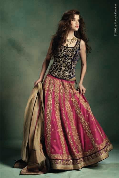 Fashion, Beauty etc.. : Vivid pink lehenga paired with blue corset - JADE by Monica & Karishma