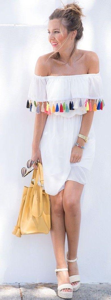 #summer #trending #fashion   Multi Pom Pom Pff The Shoulder Little White Dress