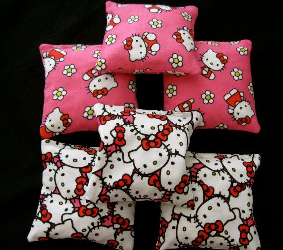 Bean Bags made with Hello Kitty Fabric Party by PinkPopPolkaDot, $15.00 for 6