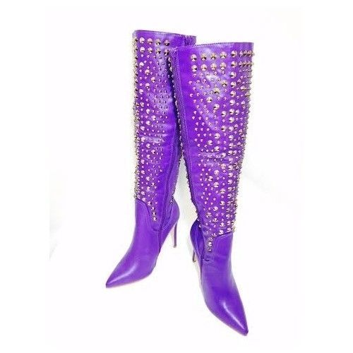 Alejandra Beyaz Faux Leather Studded Purple Women's Boot 4 1/4 Heel Size 10 New #Alejandrabeyaz #KneeHighBoots