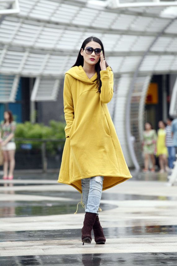 Mustard Hoodie Sweatshirt Cotton Fleece Hoodie Dress Top with Big Hood for Autumn and Spring - Custom made - NC449 on Etsy, $89.99