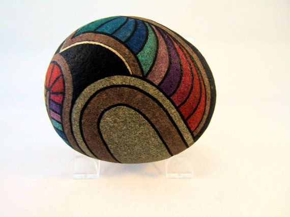 Hand Painted Rock, Signed Numbered, Collectible, Art Object,  Home Decor, Office Decor, Decorative Art.  Gift for Her or Him.