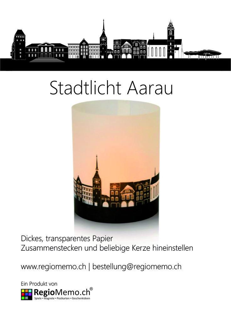 Stadtlicht Aarau  Dickes, transparentes Papier  Zusammenstecken und beliebige Kerze hineinstellen Durchmesser 9 cm / Höhe 10 cm