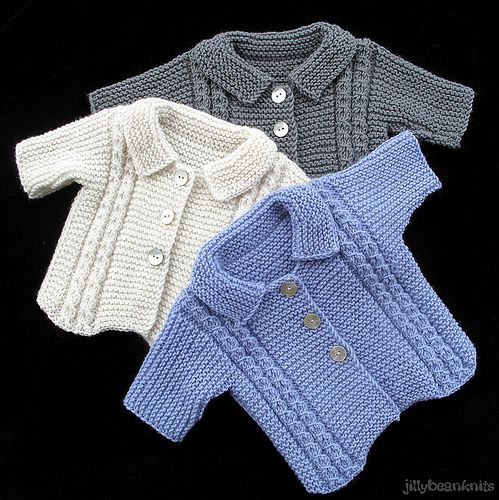 Baby Knits | Baby jackets with collar and cable detail. Made… | Flickr