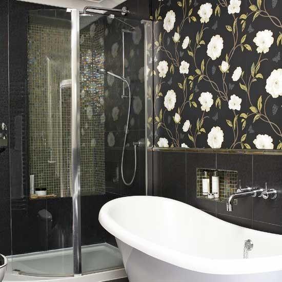 Antique Bathroom Design Ideas Tile Pink Tile Bathroom With Blueish Steel Gray Walls    Bathroom Tile Ideas Statement Bathroom Wallpaper Bathroom Tile Ideas
