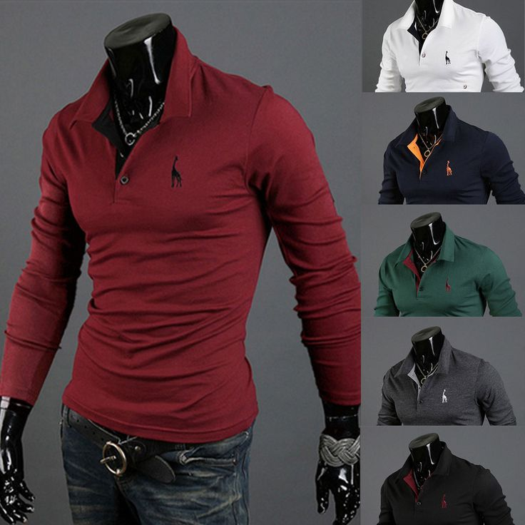 Mens Long Sleeve T-shirt Cotton Casual Slim Fit Polo T Shirt Blouse Tee Tops US