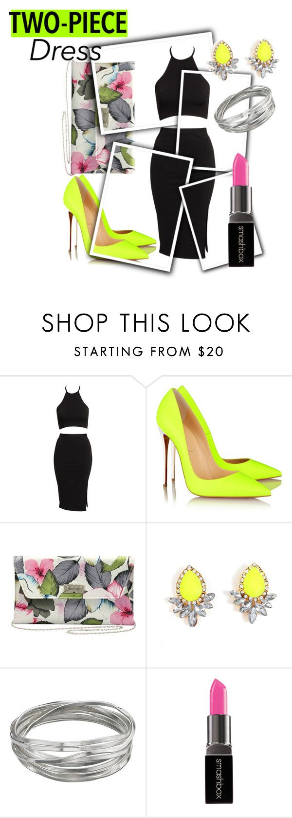 Two Piece Dress by clareceq29 on Polyvore featuring Oneness, Christian Louboutin, M&Co, Whistles, Smashbox and Lovinglife