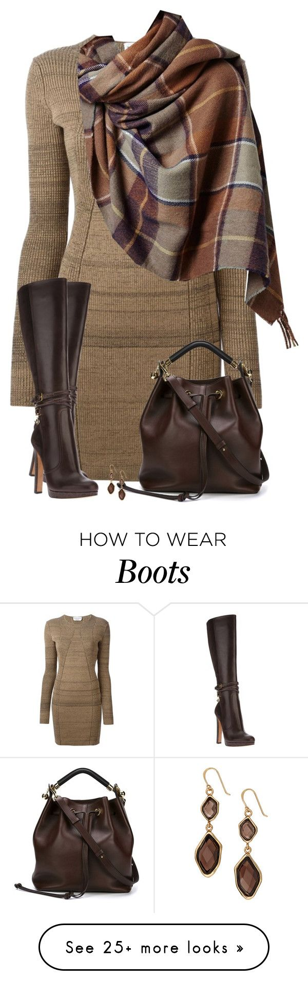 """Sweater Dress & Boots"" Shades of Brown // by daiscat on Polyvore featuring Sonia Rykiel, Dsquared2, Topshop, Chloé and Barse"