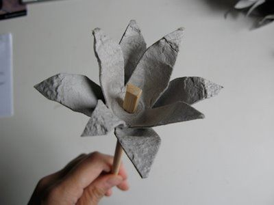 like the chopstick stem... solid craft.  then paint the flower!