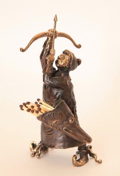 Archer Bronze Bell  - Match/Toothpick Holder, 14 cm