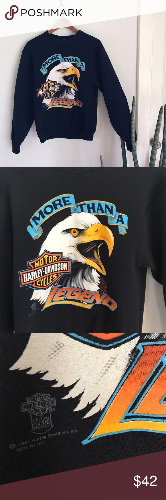 vintage harley davidson sweatshirt, Medium rad vintage 1991 harley sweatshirt for the badass babe! awesome condition, classic design. Tops Sweatshirts & Hoodies