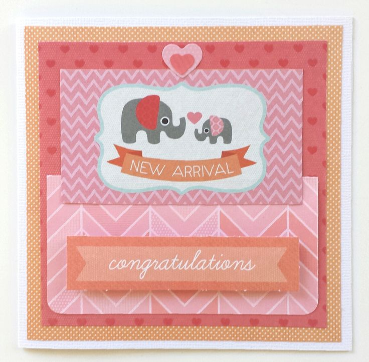 """""""New Arrival"""" Notelet Card by Amanda Baldwin for Kaisercraft 'Little One' collection - Wendy Schultz ~ Baby Cards."""