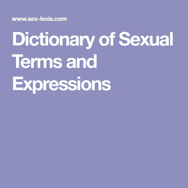 Dictionary of Sexual Terms and Expressions