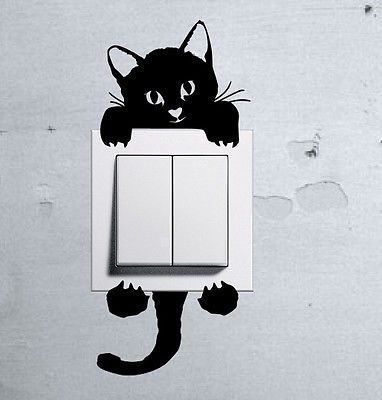 Cute Kitty Cat Baby Pet light switch funny wall decal vinyl stickers in Home, Furniture & DIY, Home Decor, Wall Decals & Stickers | eBay