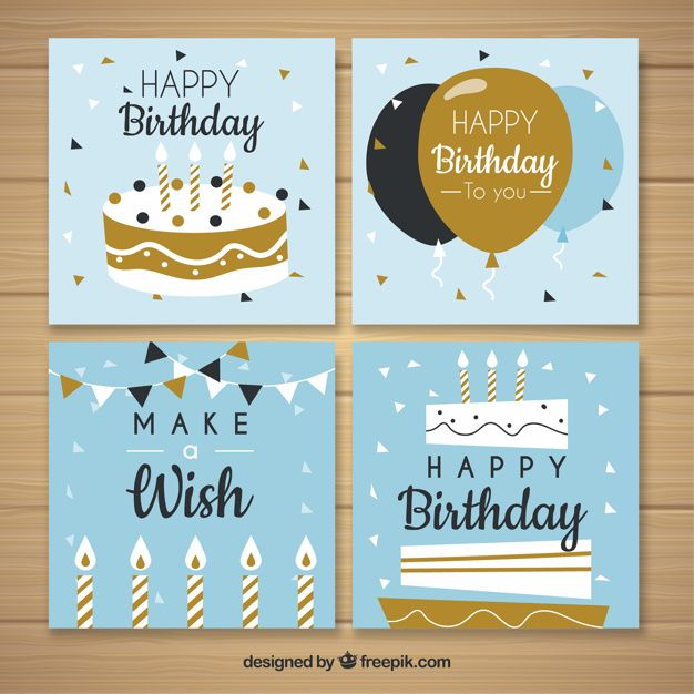 Collection Of Four Birthday Cards In Flat Design Birthday Card Design Birthday Cards Birthday Card Decoration
