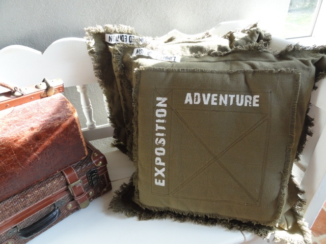 """Big tough pillows """"Adventure"""" 50 x 50 cm. Colour; olive. Two pieces in stock!"""