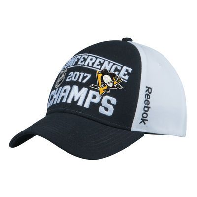 Men's Pittsburgh Penguins Reebok White/Black 2017 Eastern Conference Champions Locker Room Adjustable Hat