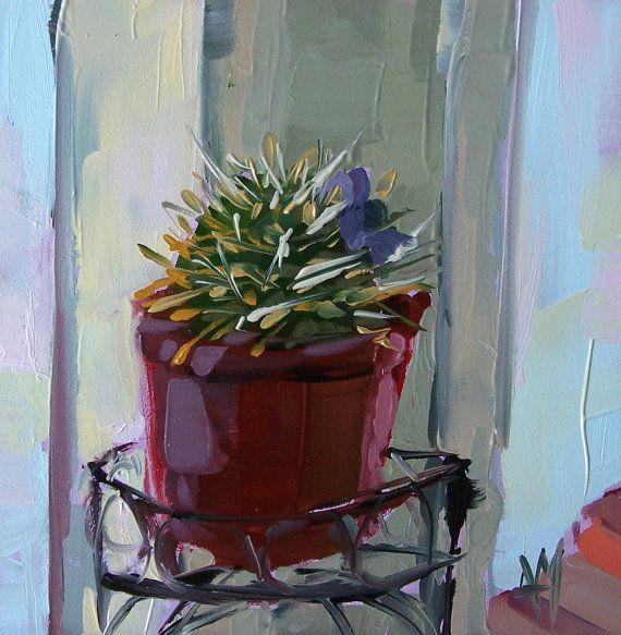 Cactus with Purple Flower in Planter original still life ...