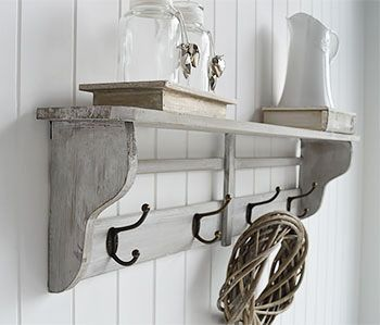 Parisian grey wall shelf with hooks for hallway furniture