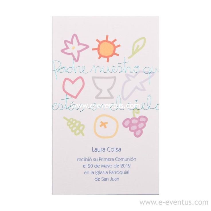comunión · invitación · barcelona · madrid · valencia · estampa comunión · detalle · recuerdo · original · estampa · fresca · moderna · niño · niña · cartulina · colores · niños · dibujo · nombre · descripción · personalizado