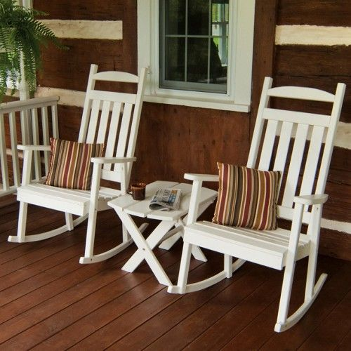 A&L Furniture Co. Classic White Wooden Rocking Chair - 680