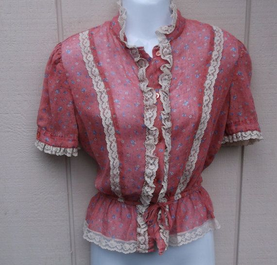 Vintage 70s Pink Sheer Voile Calico Prairie Girl Blouse / size small