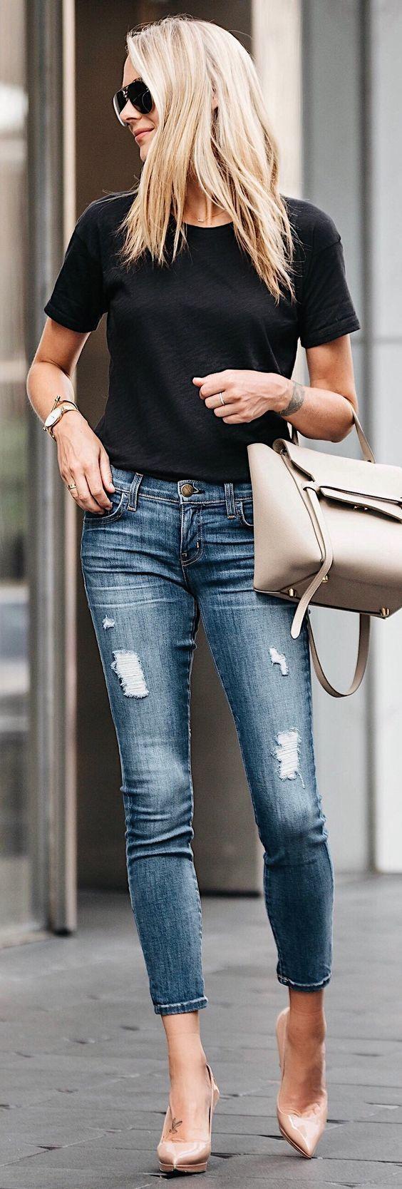 Crop jeans, heels, and black tee